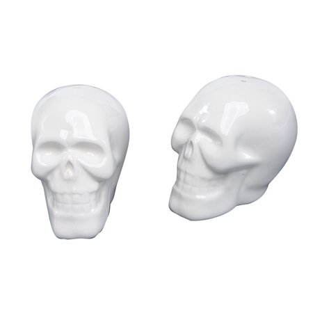 Smiling Skeleton Skulls Halloween Salt and Pepper Shaker Set, Measures 3 x 2 1/2 x 2 inches By STI