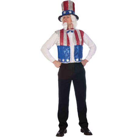 Adult's Mens Uncle Sam Hat Sequin Vest Hat Tie And Beard Costume Accessory Kit - Good Halloween Costume With Beard