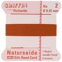 Griffin Silk Beading Cord & Needle Size 2 Carnelian
