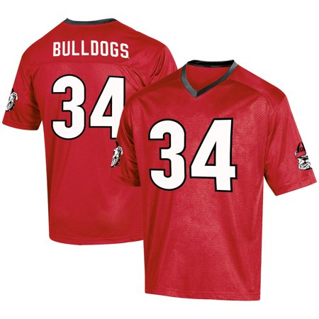 Men's Russell #34 Red Georgia Bulldogs Fashion Football Jersey