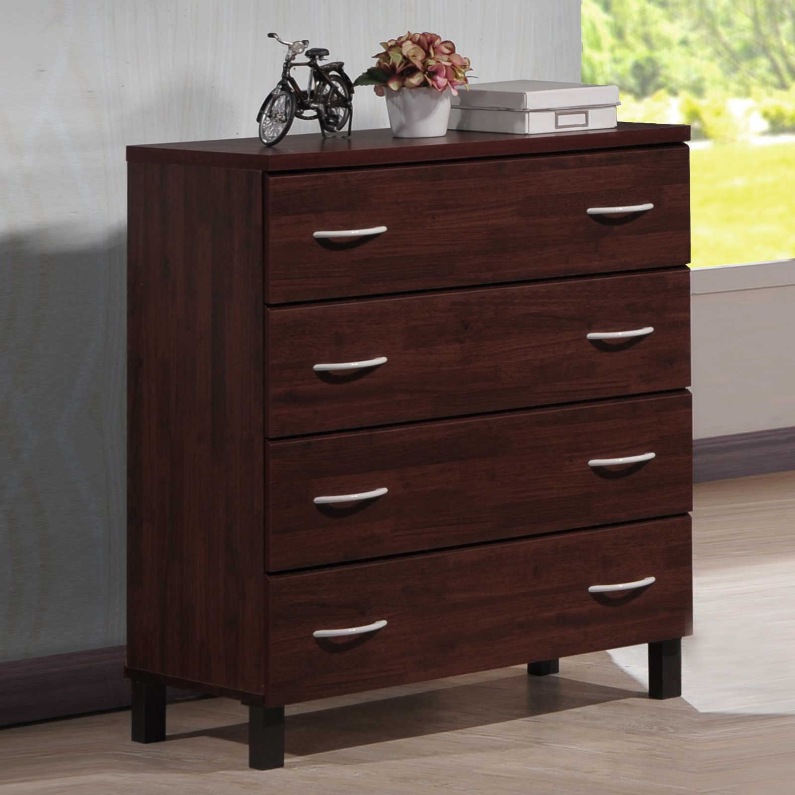 Baxton Studio Maison Modern and Contemporary Oak Brown Finish Wood 4-Drawer Storage Chest