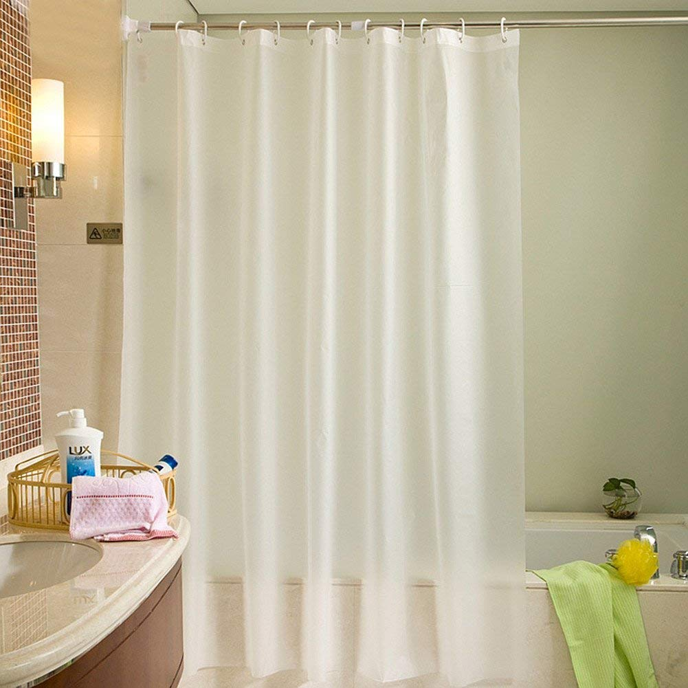 Uforme Modern Decor Bath Stall Size PVC Free Shower Curtain Mildew Resistant Solid White Bathroom Wa