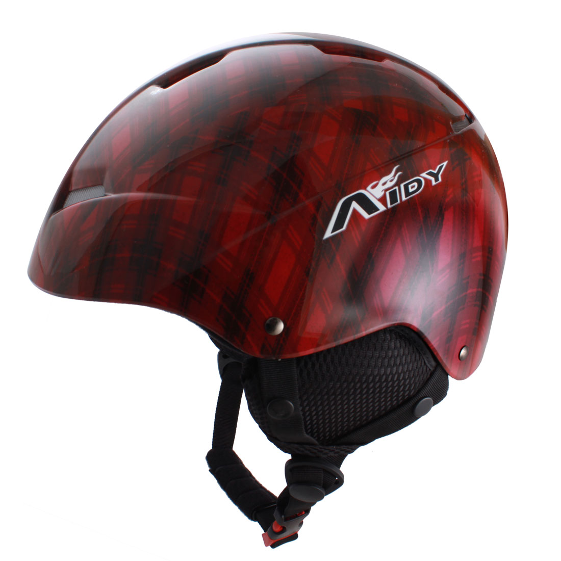 Adjustable Release Buckle Chin Strap Foam Lining Skiing Sports Helmet Red Black by