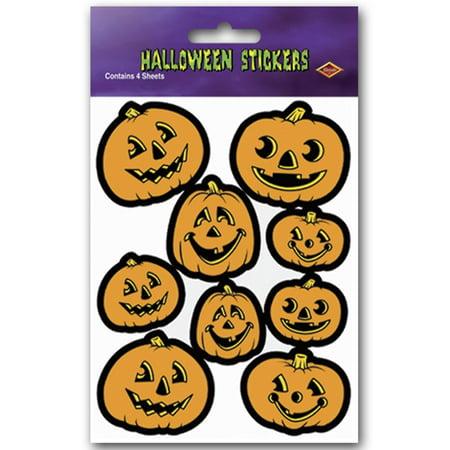 Club Pack of 12 Halloween Themed Jack-O-Lantern Sticker Sheets 7.5