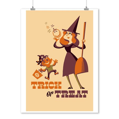 Trick or Treat - Mom & Son - Retro Halloween - Lantern Press Artwork (9x12 Art Print, Wall Decor Travel Poster)