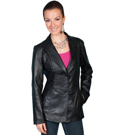 Scully Western Jacket Womens Fitted Leather Button Black L646 ()
