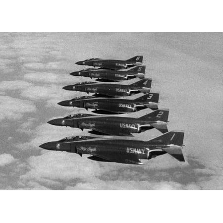 McDonnell Douglas F-4J Phantom II fighters of the U.S. Navy Blue Angels flight demonstration team fl Poster Print 24 x 36