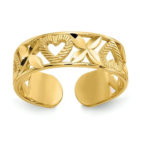 "Primal Gold 14 Karat Yellow Gold Diamond-cut "" X"" and Heart Toe Ring"