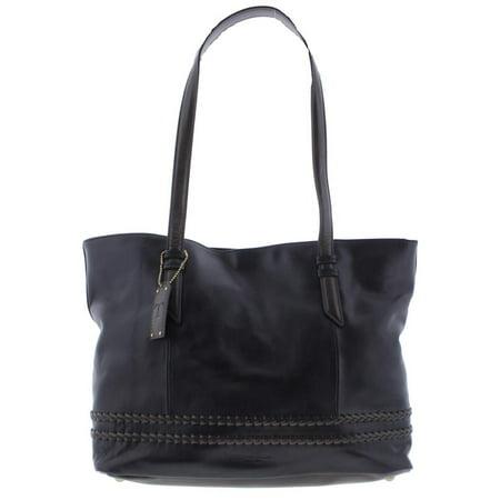 Tignanello Womens Classic Boho Leather Contrast Trim Tote Handbag
