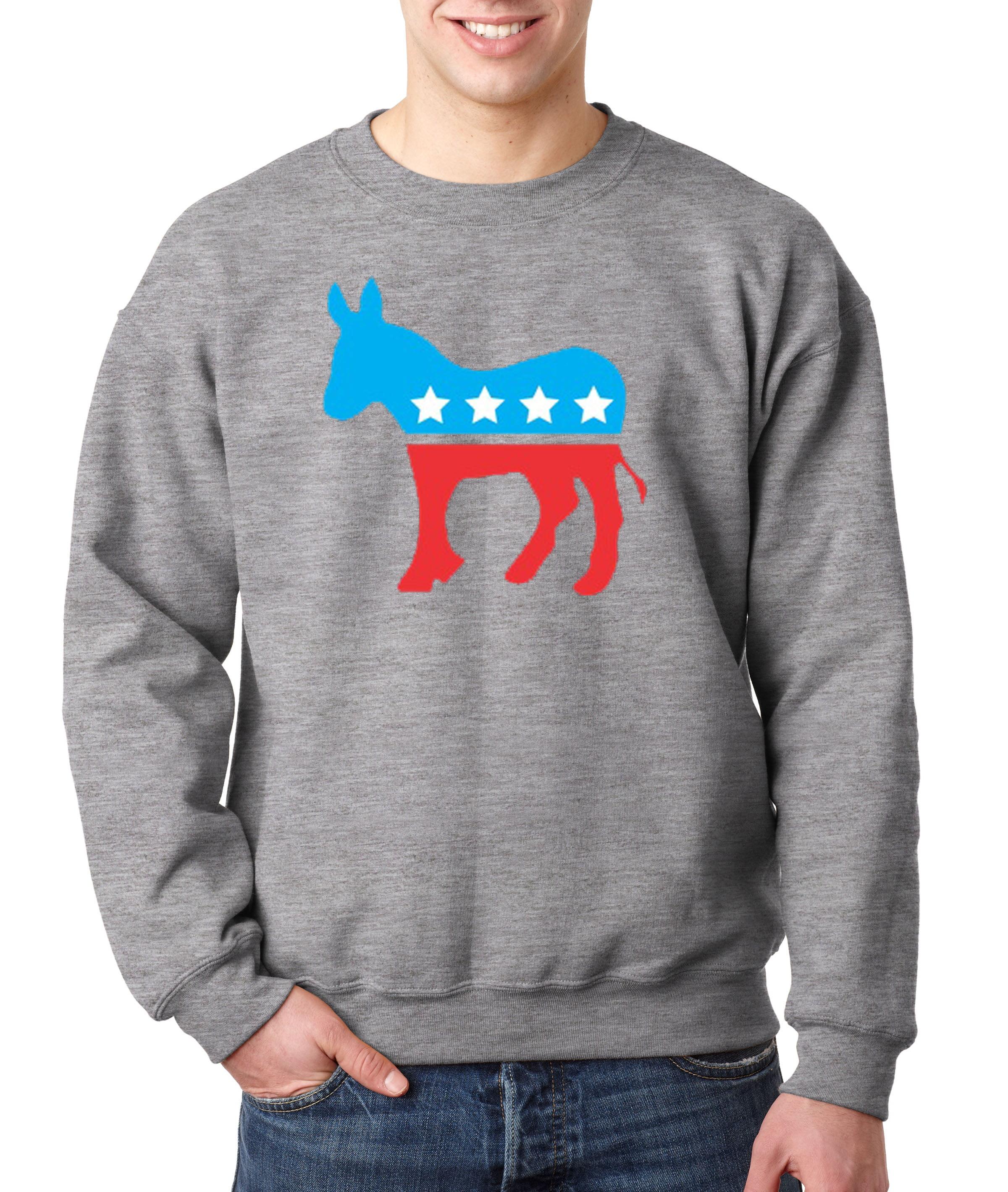Allwitty 1011 - Crewneck Democrat Donkey Mascot Liberal ...