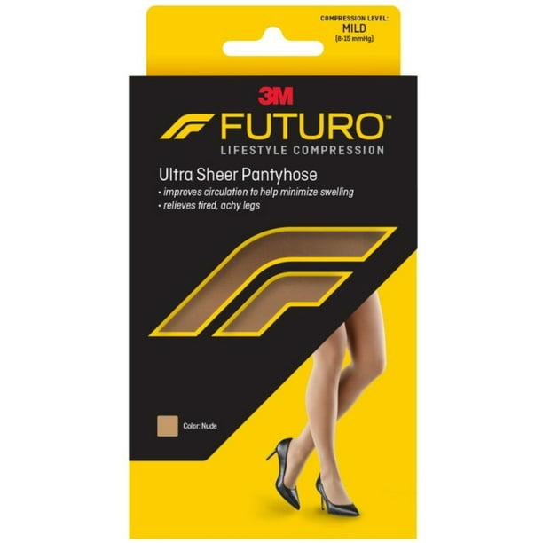 2 FUTURO ENERGIZING ULTRA SHREE PANTYHOSE LARGE NUDE MILD