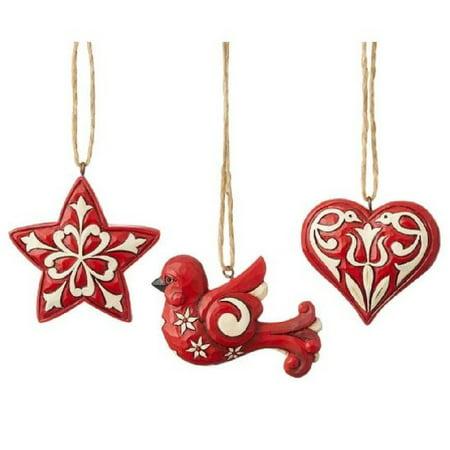 Jim Shore Heartwood Creek Nordic Noel 3 Piece Mini Ornament Set 6004233 New