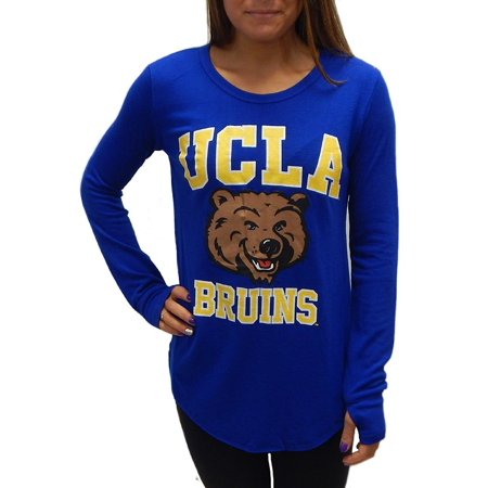 UCLA Bruins Officially Licensed Logo Junior Fit Tee Long Sleeve T-Shirt with Thumb Holes (Large)