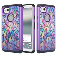 Google Pixel 2 XL Case, Hybrid Crystal Rhinestone Dual Layer [Shock Resistant] Protective Cover - Rainbow Flower