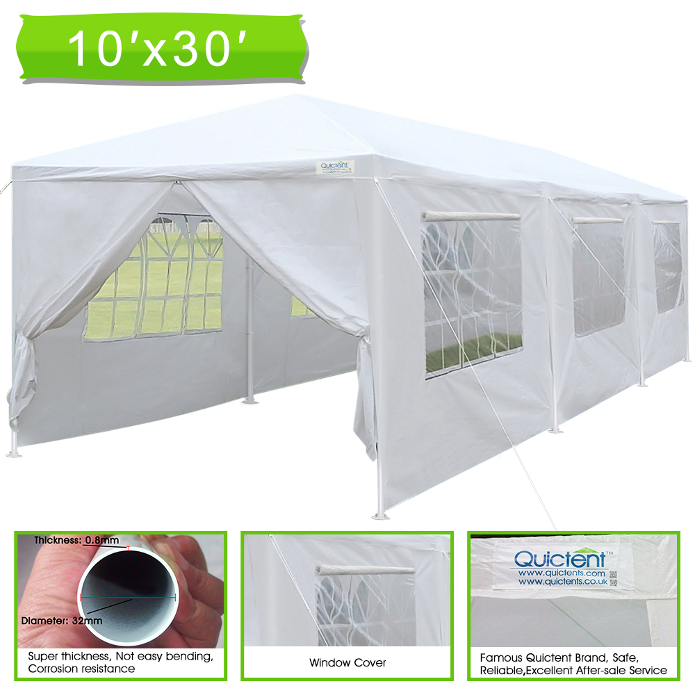 Click here to buy Quictent 10' x 30' Upgraded Heavy Duty Steel Pipes Canopy Gazebo Wedding Party Tent with Elegant Church Window& Rollable....