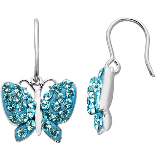 Luminesse Sterling Silver Blue Butterfly Earrings made with Swarovski Elements