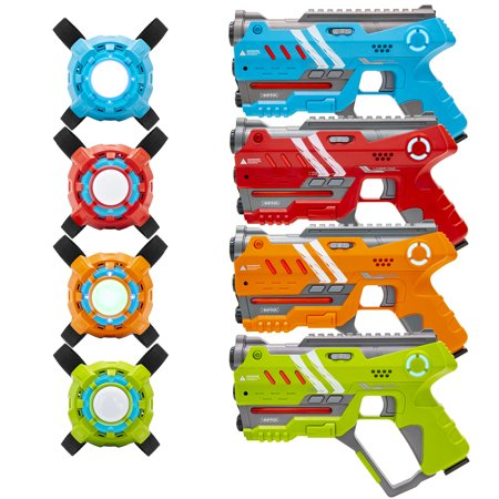 Best Choice Products Set of 4 Multiplayer Infrared Laser Tag Blaster Toy Guns and Vests w/ Sound Effects, Backwards Compatible - Multi