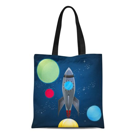 ASHLEIGH Canvas Tote Bag Travel Outer Space Rocket Boys Kids Childrens Planets Reusable Handbag Shoulder Grocery Shopping Bags - Childrens Shopping Bag