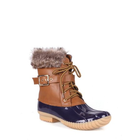 Nature Breeze Faux Shearling Lace Up Women's Duck Boots in Blue - Low Shearling Boots