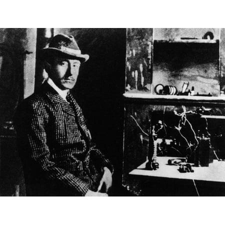 Guglielmo Marconi with His First Radio Print Wall (The First Radio Invented By Guglielmo Marconi)