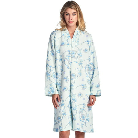 Hippie Print Robe (Casual Nights Women's Floral Print Zipper Front Quilted)