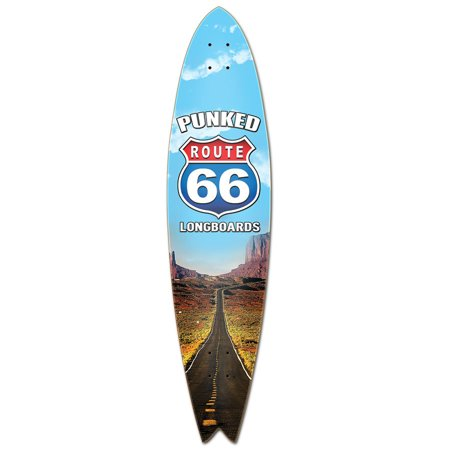 Yocaher Fishtail Longboard Deck - Route 66 Series - The Run