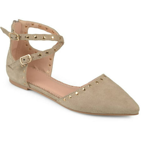 Double Strap Flats - Womens Double Ankle Strap Faux Suede Studded Flats