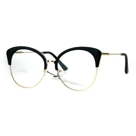 049f527361dfe Womens Large Cat Eye Half Rim Clear Lens Fashion Glasses Black Gold -  Walmart.com