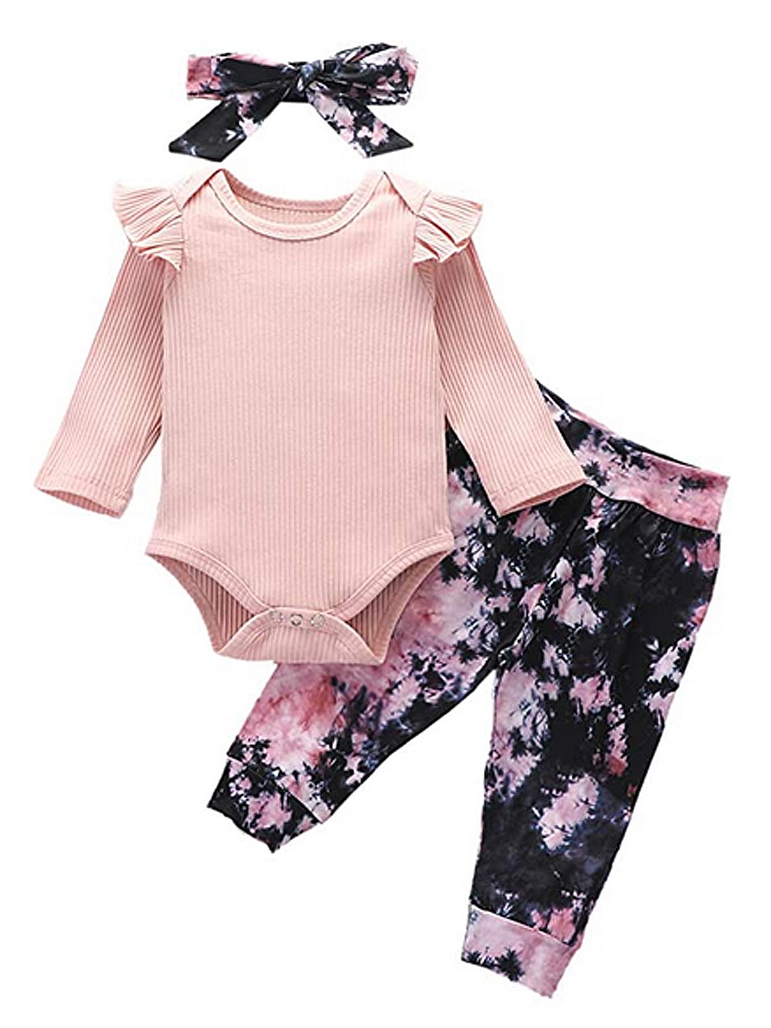 Newborn Baby Boys Girls Tie-Dye Ruffle Romper Pants+Headbands Outfit Set Clothes