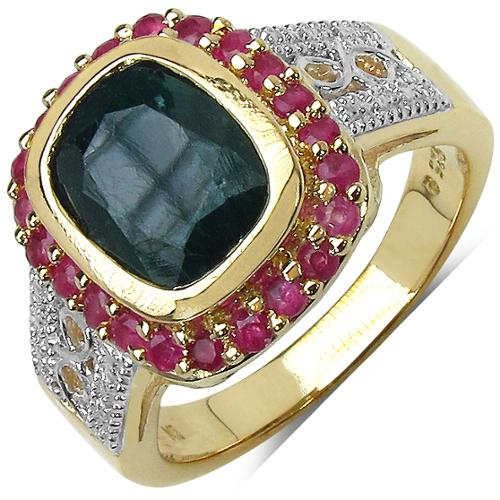 Olivia Leone  14k Yellow Gold Over Silver 3 4/5ct TGW Genuine Emerald and Ruby Ring