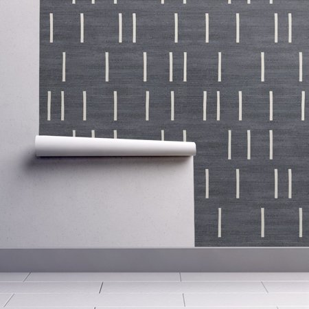 Removable Water-Activated Wallpaper Denim Texture Linear Broken Layered