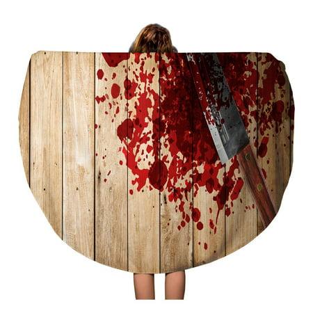 SIDONKU 60 inch Round Beach Towel Blanket Knife of Blood on Wood Floor Halloween Bloody Murder Travel Circle Circular Towels Mat Tapestry Beach Throw - 100 Floors Halloween Level 60