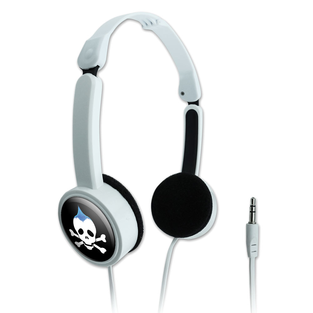 Skulls Crossbones Son Stick Figure Family Boy Novelty Travel Portable On-Ear Foldable Headphones