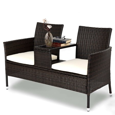 Costway Patio Rattan Chat Set Seat Sofa Loveseat Table Chairs Conversation Cushioned (Outdoor Patio Chat Set)