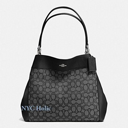 COACH Lexy Shoulder Bag in Outline Signature khaki/chalk F57612 (Smoke/Black)