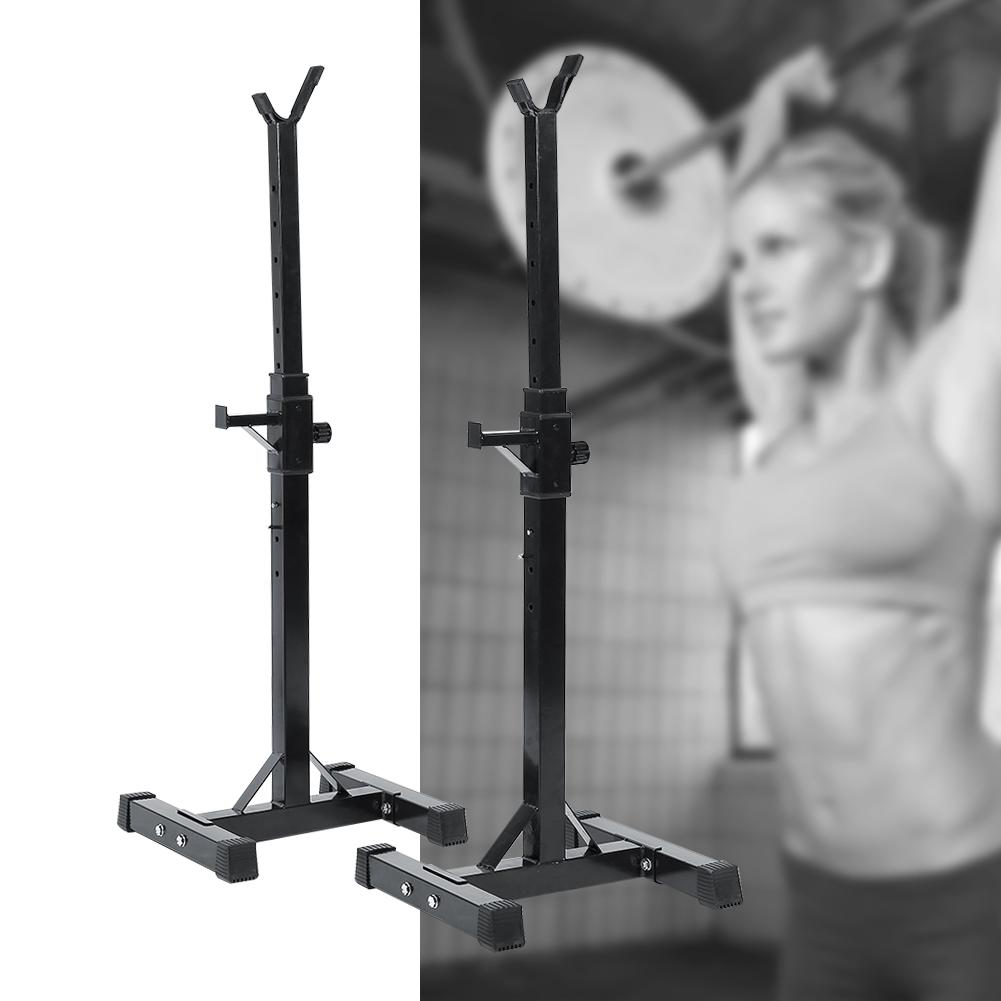 Qiilu Max Load 440 lbs Black Dumbbell Racks Stand Adjustable Barbell Stand Solid Steel Squat Stands Barbell Free Press Bench