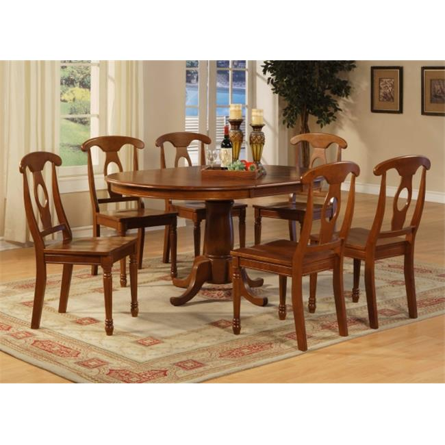 PONA7-SBR-W 7 Piece dining room set-Oval Dining Table with Leaf and 6 Chairs