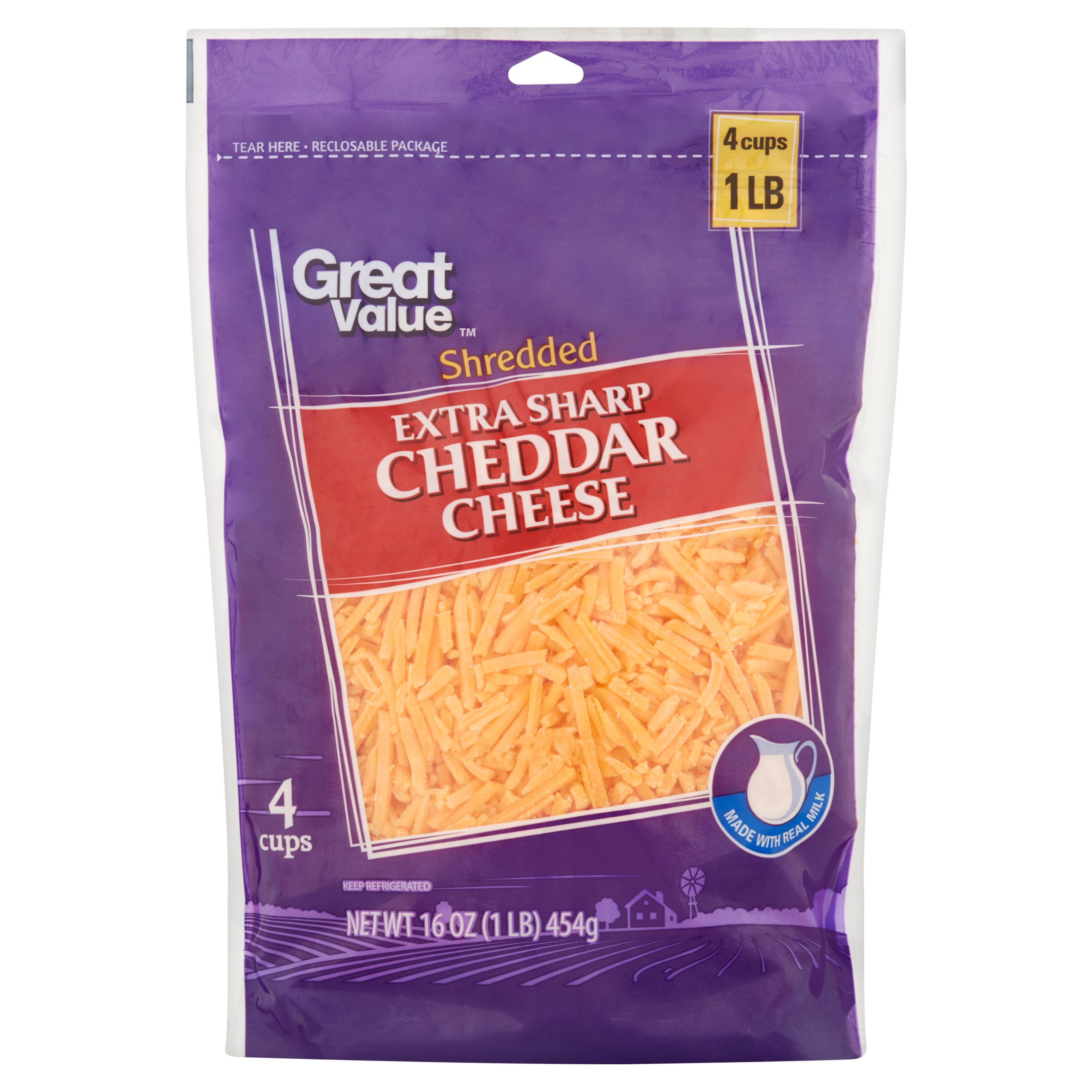 Great Value Shredded Extra Sharp Cheddar Cheese, 16 oz