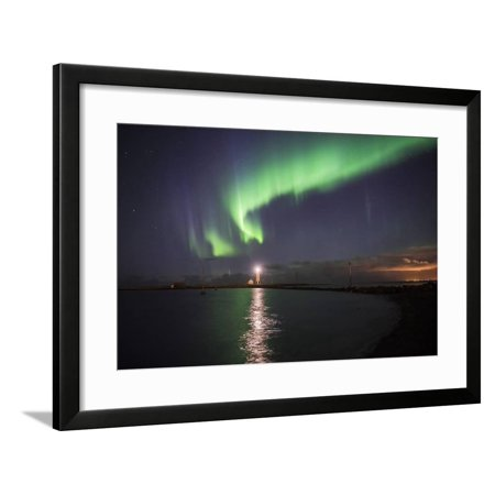 Northern Lights (Aurora Borealis) at Grotta Island Lighthouse, Polar Regions Framed Print Wall Art By Matthew Williams-Ellis