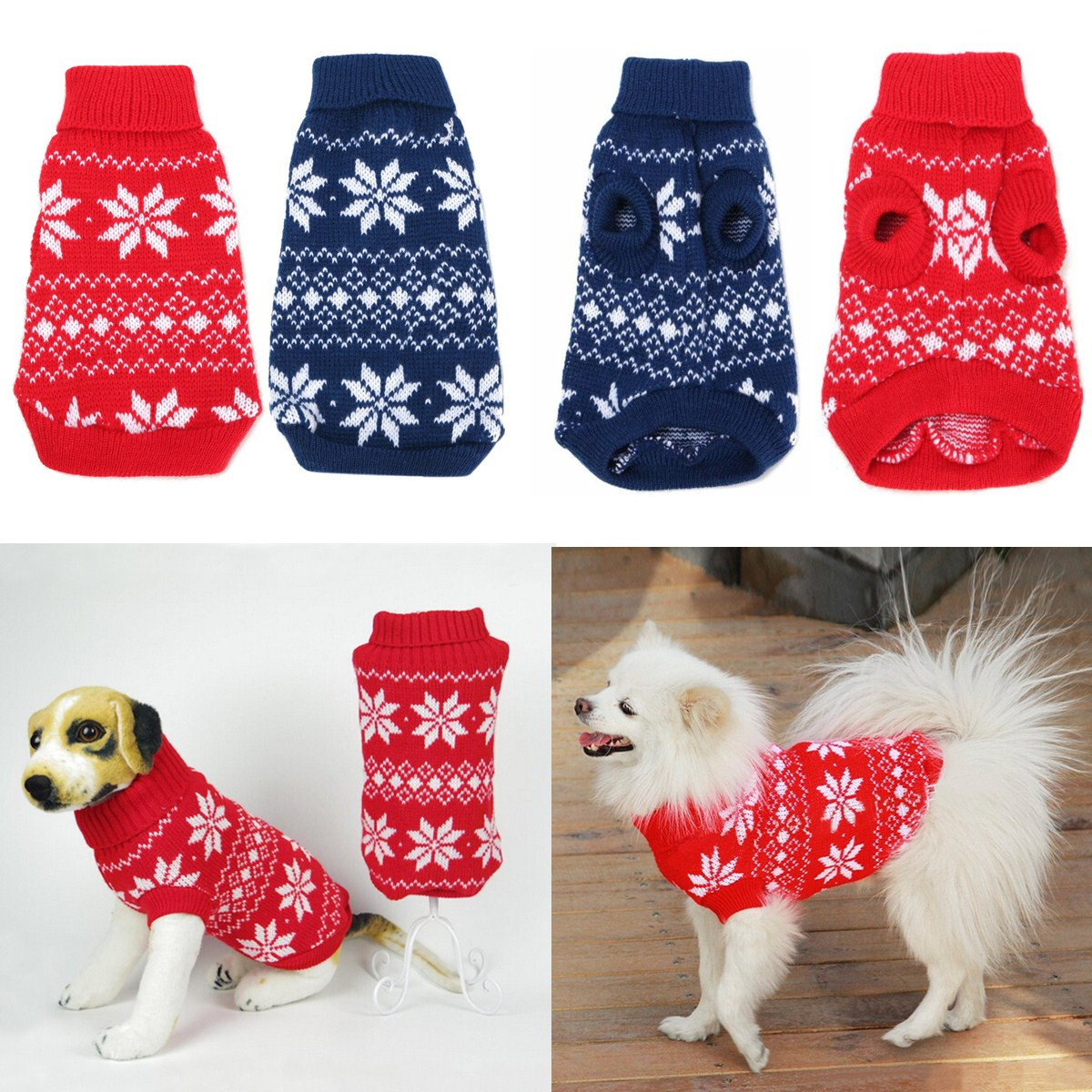 Christmas Pet Dog Puppy Snowflake Knit Sweater Hoody Clothes Costume  Gifts