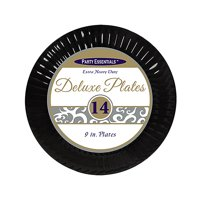 """1 - Party Essentials 9"""" Deluxe Luncheon Plates - Black 14 Ct."""