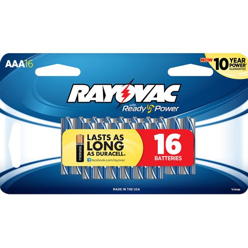 Rayovac Alkaline Value Pack AAA Batteries, 16-pack