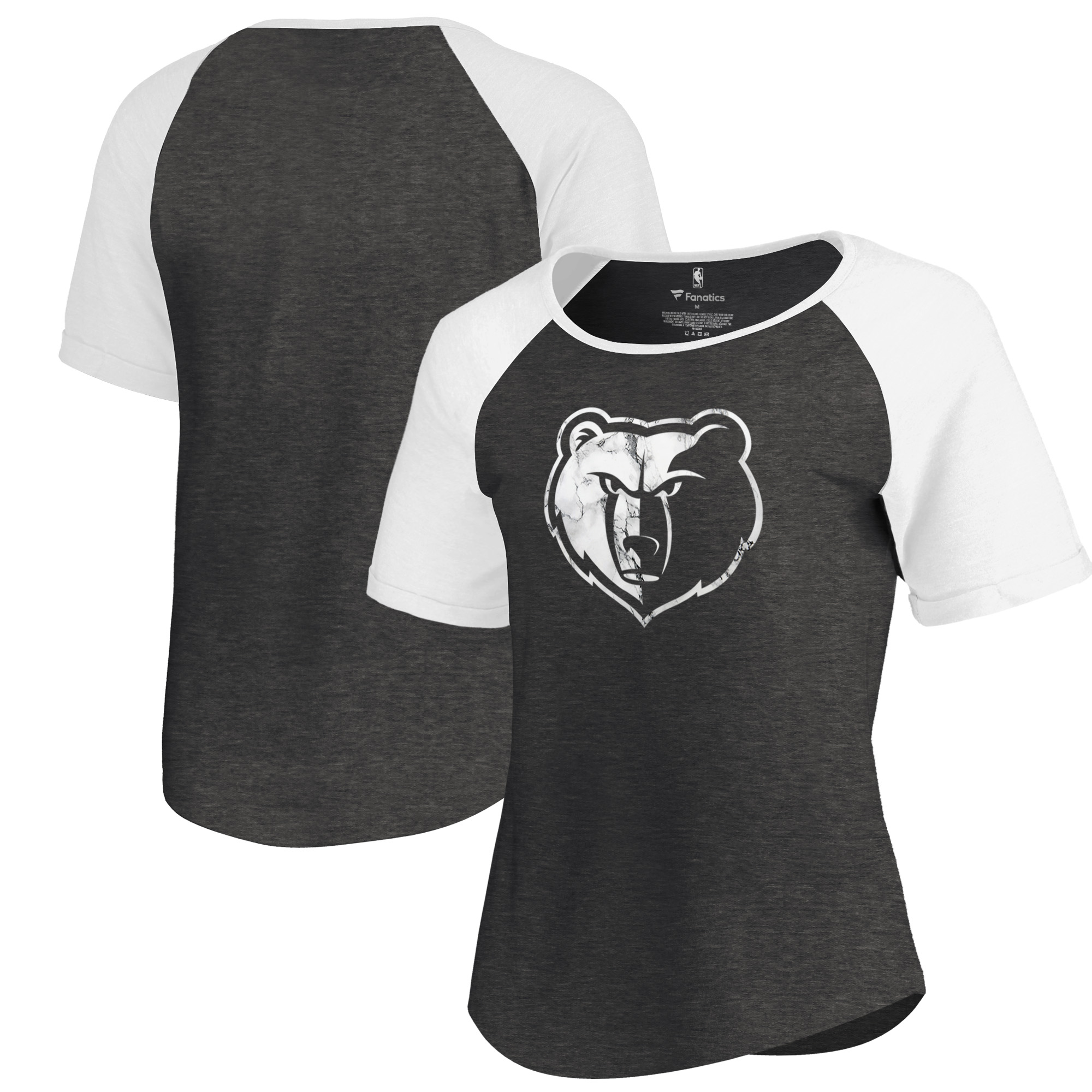 Memphis Grizzlies Fanatics Branded Women's Marble Logo Raglan T-Shirt - Black