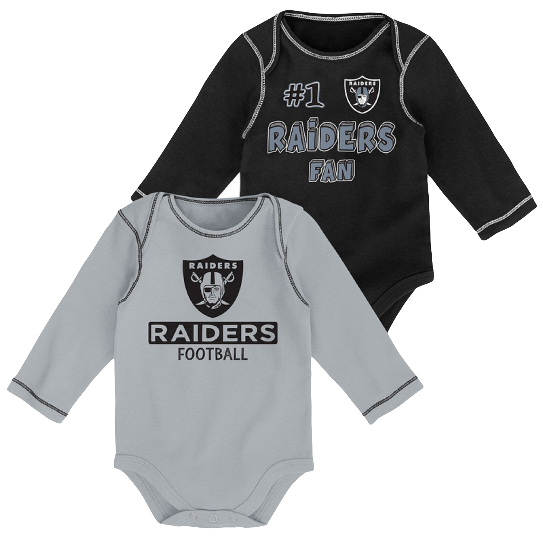 Newborn & Infant Black/Silver Oakland Raiders 2-Pack Long Sleeve Bodysuits