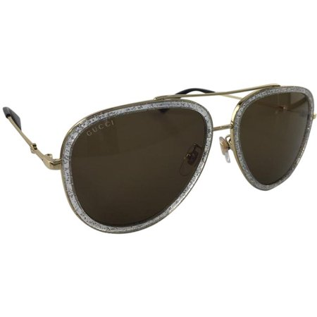 Gucci GG 0062S 004 Gold Brown Silver Plastic Sunglasses 57mm