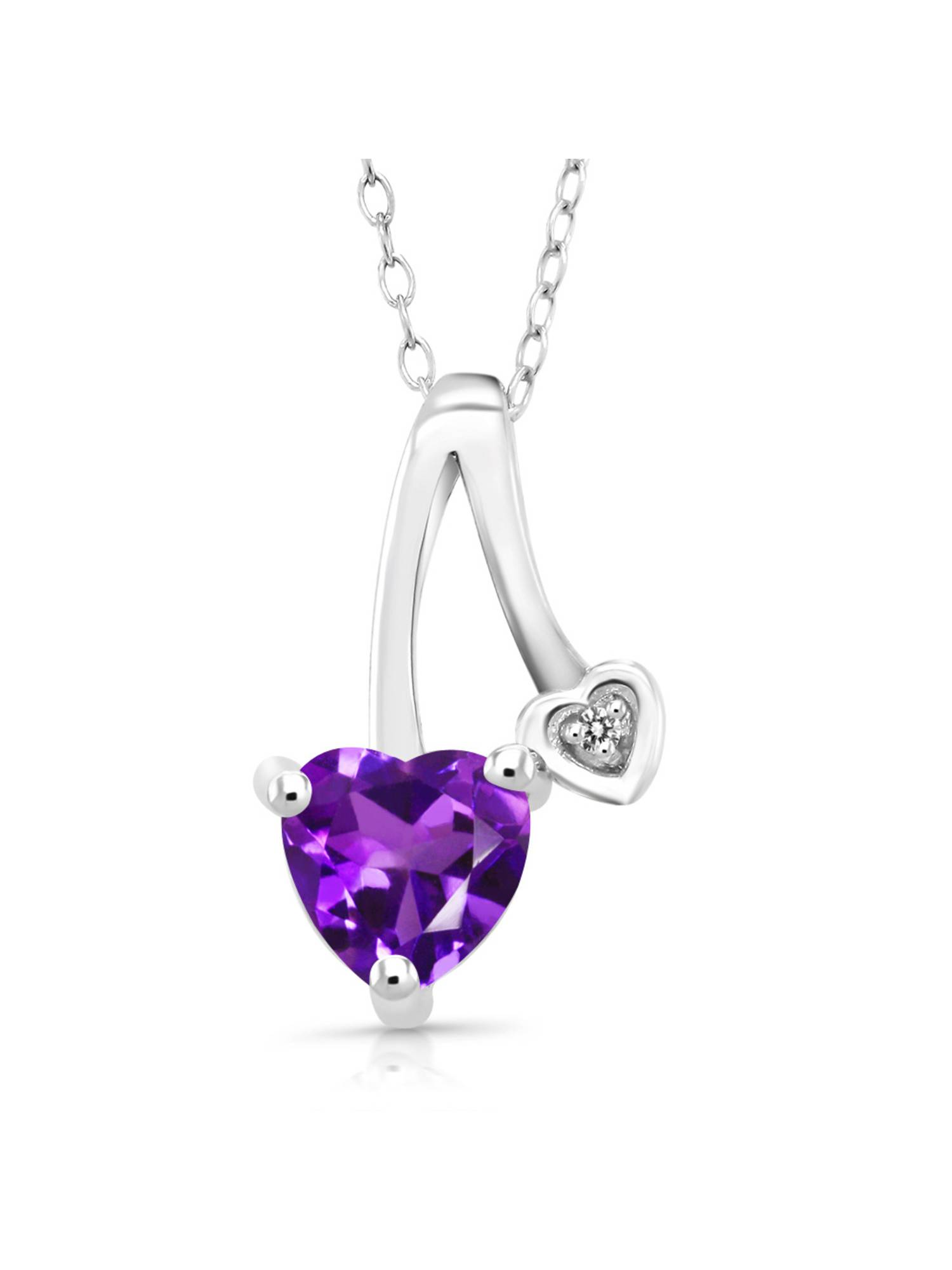 0.75 Ct Heart Shape Purple Amethyst White Diamond 925 Sterling Silver Pendant by