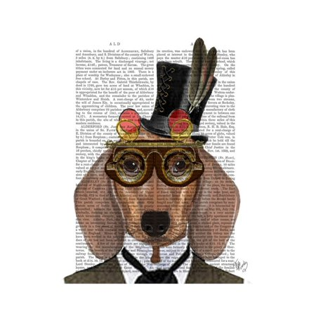 Dachshund with Top Hat and Goggles Print Wall Art By Fab - Top Hat And Goggles