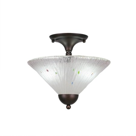 - Toltec Lighting Toltec 2 Bulb Semi Flush Mount Shown In Bronze Finish With Glass Shade
