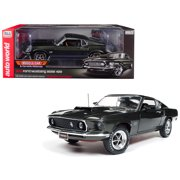1969 Ford Mustang Boss 429 Black Jade MCACN Limited Edition to 1002 pieces Worldwide 1/18 Diecast Model Car by Autoworld