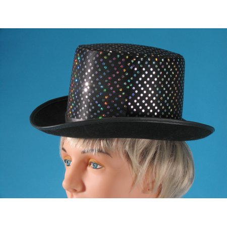 Loftus Silver Dots Magician Sparkly Adult Costume Top Hat, Black, One Size](Silver Top Hats)